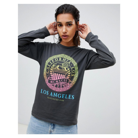 ASOS DESIGN long sleeve t-shirt in wash with ombre neon print