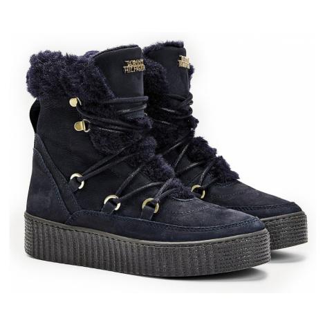 Tommy Hilfiger niebieskie buty zimowe Tommy Warm Lined Lace Up Bootie Desert Sky