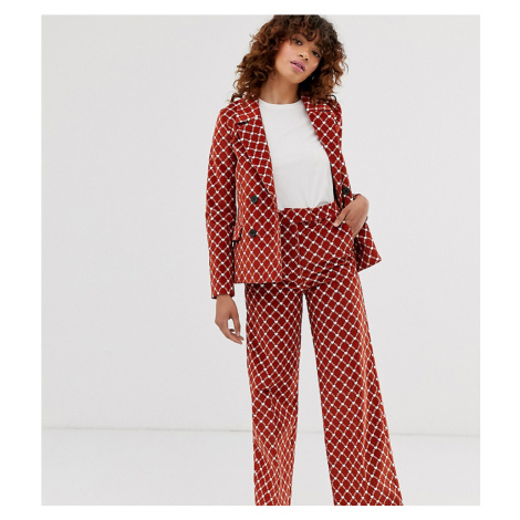 Monki heart chain print cord straight leg co-ord trousers in rust