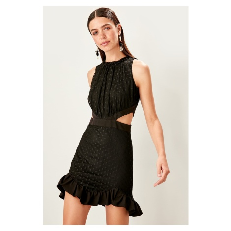 Trendyol Black Waist Revealing Polka Dot Dress