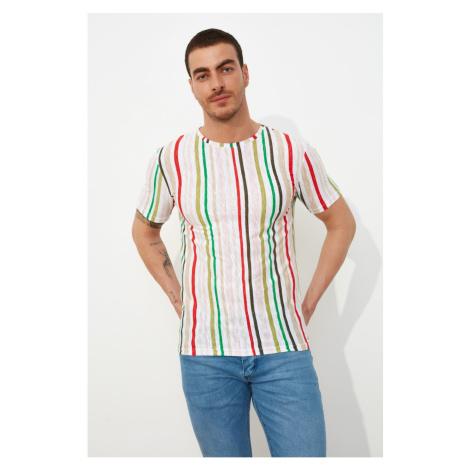 Modsolo Multicolored Męski Slim Fit Bike Collar z nadrukiem T-shirt z krótkim rękawem
