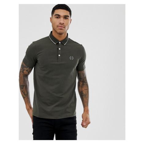 Armani Exchange slim fit tipped logo polo in khaki