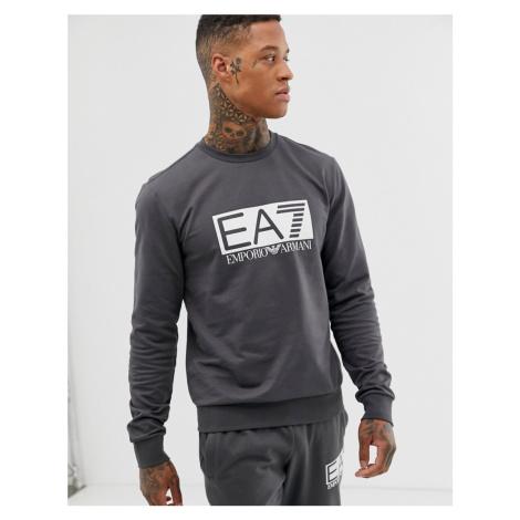 EA7 large logo crew neck sweat in dark grey Armani