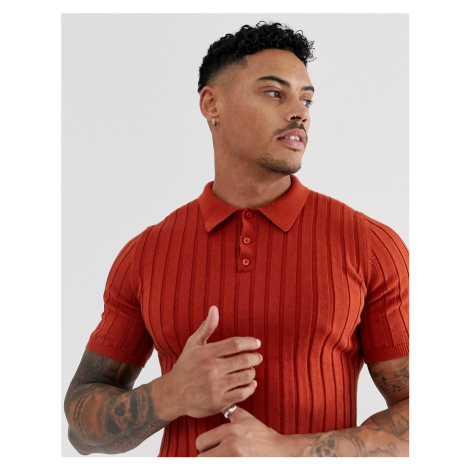 ASOS DESIGN knitted ribbed polo shirt in burnt orange