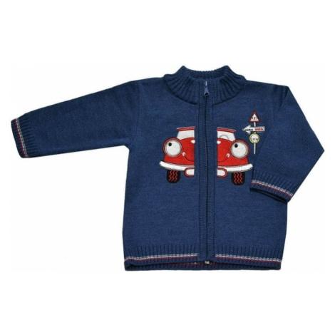 EKO sweter chłopięcy z autem 98 niebieski