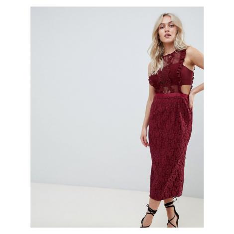 ASOS DESIGN lace pencil midi dress with frill pinny bodice