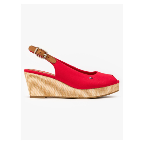 """Tommy Hilfiger """"Iconic Elba Sling Back Wedge"""" Red"""
