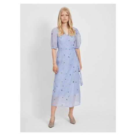 Niebieska wzorzysta sukienka midi VILLA Vila