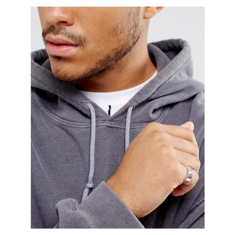 ASOS DESIGN plain band pinky ring in silver tone