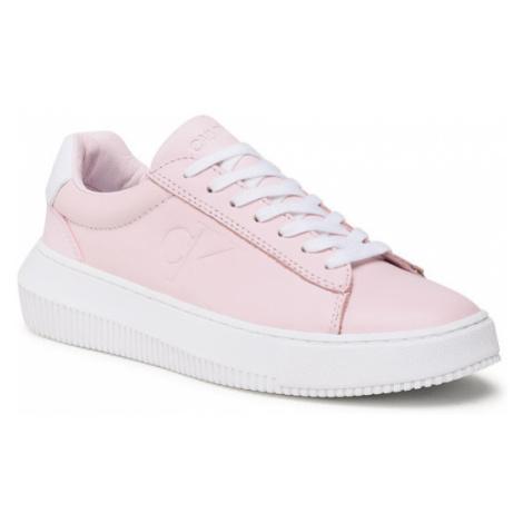 Calvin Klein Jeans Sneakersy Chunky Sole Sneaker Laceup Lth YW0YW00066 Różowy