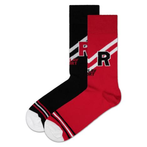Replay Ponožky Casual Sport Logo&Stripes 2Prs Banderole - Czarny/Czerwony