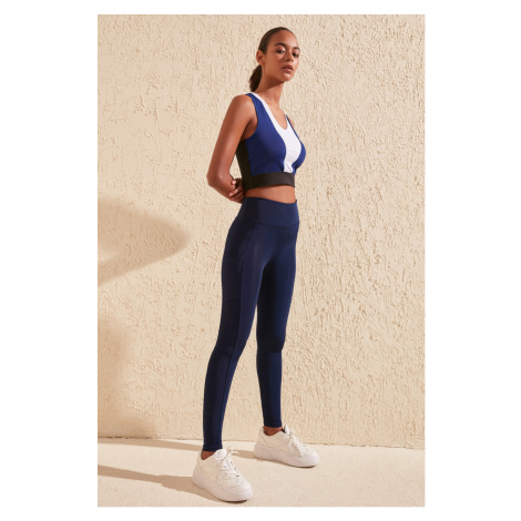 Trendyol Navy Blue Zipper and Pocket Detailhigh Waist Sports Tights