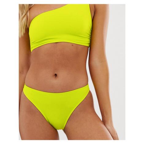 Miss Selfridge bikini briefs with high leg in lime green
