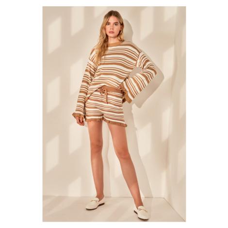 Trendyol Camel Striped Knitwear Shorts & Bermuda
