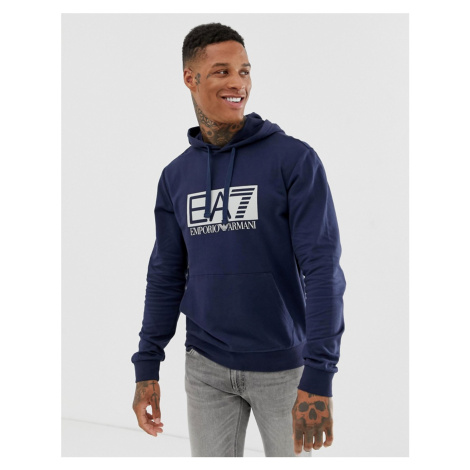 EA7 large logo hooded sweat in navy Armani