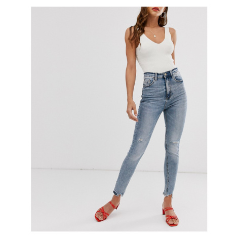 Stradivarius super high waist jeans in acid wash