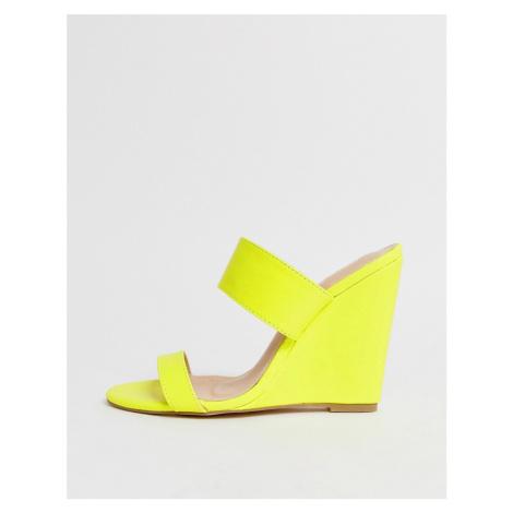 Public Desire Lena neon yellow wedge sandals