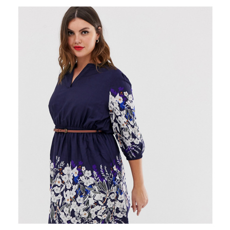 Yumi Plus belted dress with 3/4 sleeves in floral border print