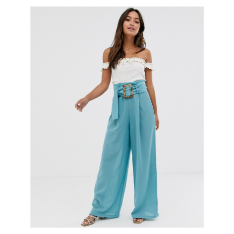 ASOS DESIGN textured wide leg trouser with buckle