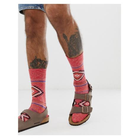 Birkenstock cotton diamond stripe socks in red