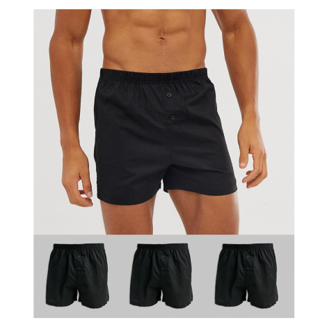 ASOS DESIGN 3 pack woven boxers in black save