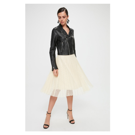 Trendyol Ecru Pleated Lace Skirt