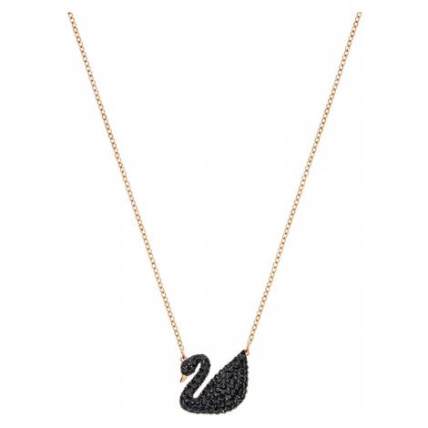 Swarovski Łańcuszek 'Swan' czarny / różowe złoto