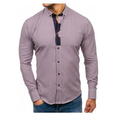 Koszula męska we wzory z długim rękawem bordowa Bolf 8810
