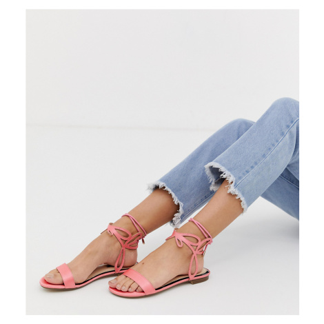 Miss Selfridge flat sandals with ankle detail in pink