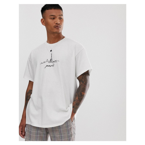 BoohooMAN oversized t-shirt with Paris print in white