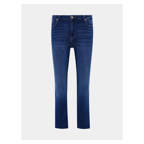 Granatowe, skrócone jeansy z rozkloszowanymi nogawkami TALLY WEiJL