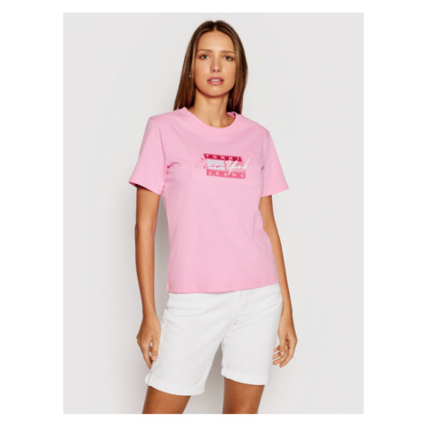 Tommy Jeans T-Shirt Embroidered Flag DW0DW09813 Różowy Regular Fit Tommy Hilfiger