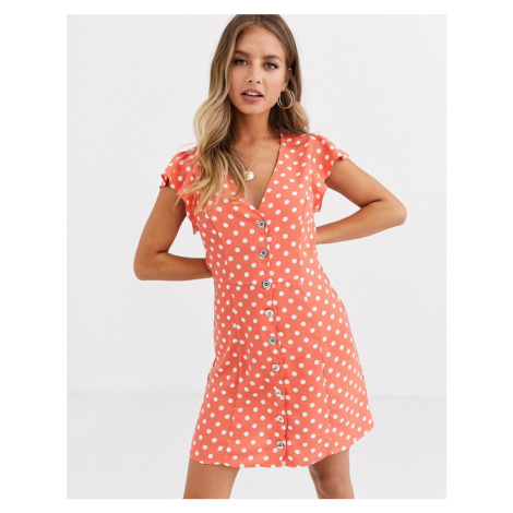 Oasis skater dress with button through in polka dot
