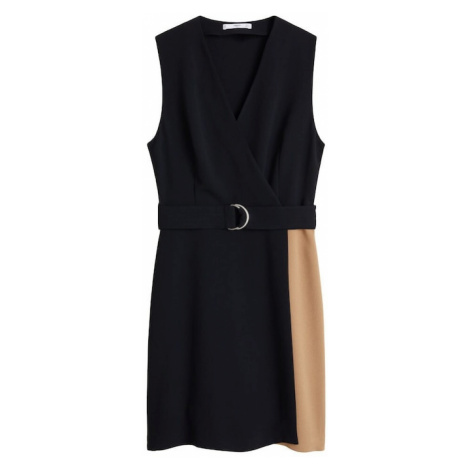 MANGO Sukienka 'Virginia' piaskowy / czarny
