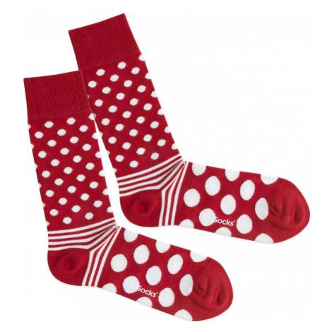 DillySocks Skarpety 'Dot Stripe Fire' czerwony / biały