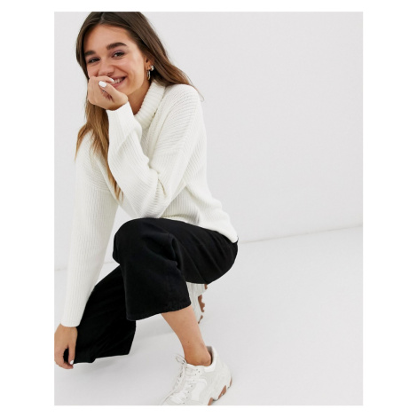 Monki ribbed roll neck oversized jumper in off white