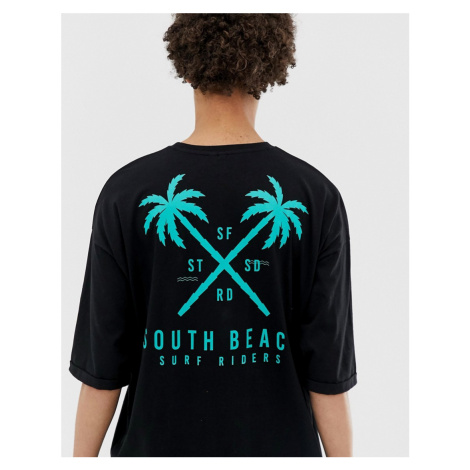 ASOS DESIGN organic cotton oversized longline t-shirt with palm tree chest & back print with rol