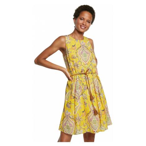 Desigual żółta sukienka Vest Adriana