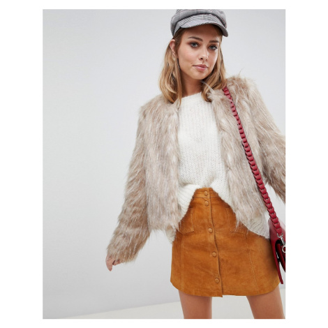 Urbancode faux feather crop jacket