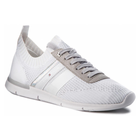 Sneakersy TOMMY HILFIGER - Knited Light Weight Sneaker FW0FW03035 White 100