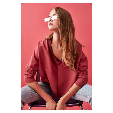Bluza z dzianiny Trendyol Rose Dry V Collar Swand