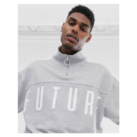 ASOS DESIGN funnel neck sweatshirt with side stripe & half zip with dark future logo