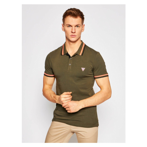 Guess Polo M1RP66 J1311 Zielony Extra Slim Fit