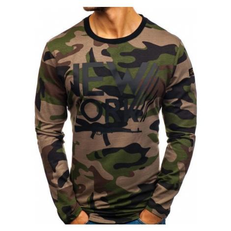 Bluza męska bez kaptura z nadrukiem moro-khaki Denley 0742 ATHLETIC