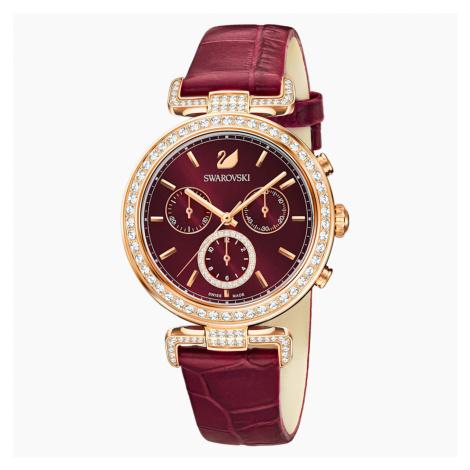 Zegarek Era Journey, pasek ze skóry, ciemnoczerwony, powłoka PVD w odcieniu różowego złota Swarovski