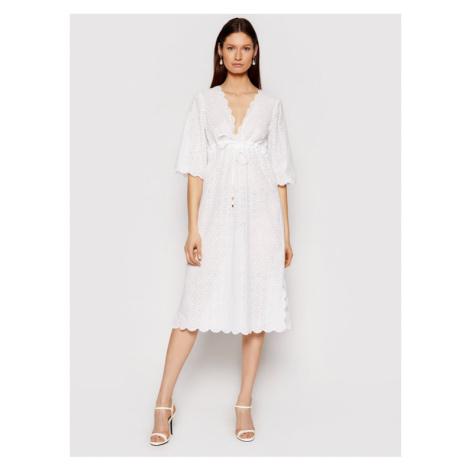 Tory Burch Sukienka letnia Broderie Midi Beach 80412 Biały Regular Fit