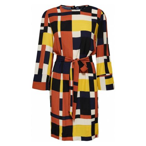 SELECTED FEMME Sukienka granatowy / żółty / ciemnopomarańczowy / czarny / biały