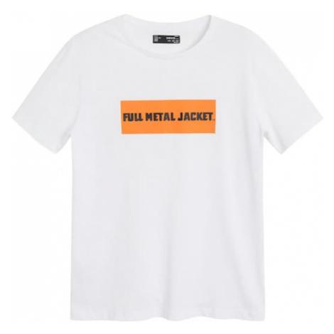 MANGO MAN Koszulka 'CAMISETA FULL' czarny / biały / pomarańczowy