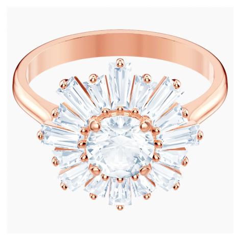 Pierścionek Sunshine, biały, w odcieniu różowego złota Swarovski