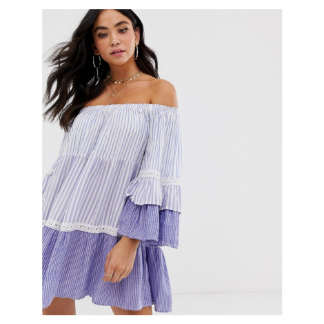 White Cabana off the shoulder beach dress in blue stripe